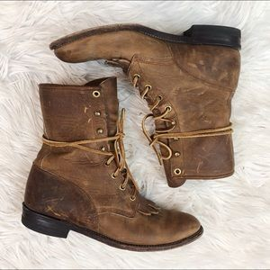 Justin Leather Lace Up Western Boots